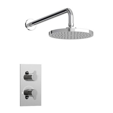 Britton Bathrooms - Concealed Thermostatic Valve with Round Fixed Head & Arm