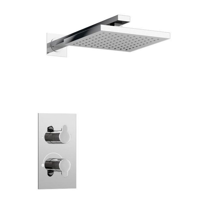Britton Bathrooms - Concealed Thermostatic Valve with Square Fixed Head & Arm Large Image