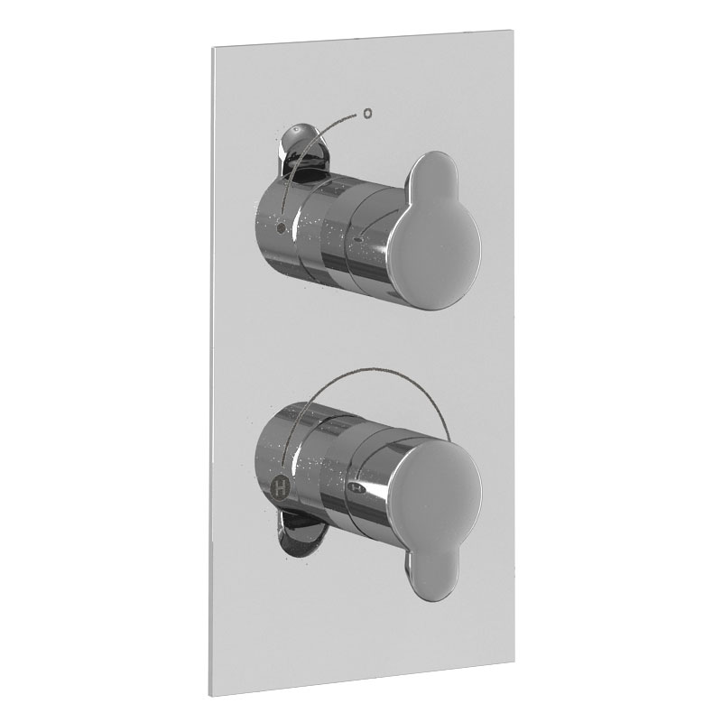Britton Bathrooms - Concealed Thermostatic Valve with Square Fixed Head & Arm profile large image view 2