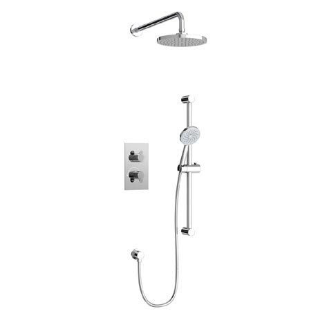 Britton Bathrooms - Concealed Twin Thermostatic Valve with Round Fixed Head and Slider Kit
