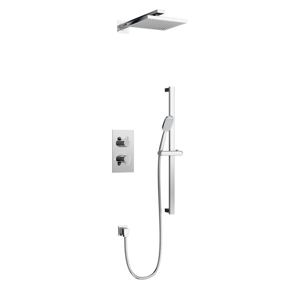 Britton Bathrooms - Concealed Twin Thermostatic Valve with Square Fixed Head and Slider Kit Large Image