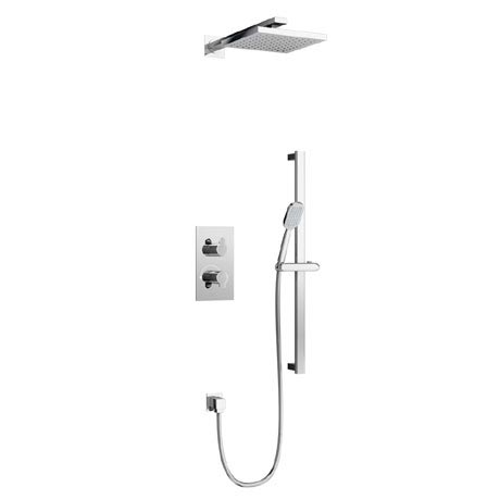 Britton Bathrooms - Concealed Twin Thermostatic Valve with Square Fixed Head and Slider Kit