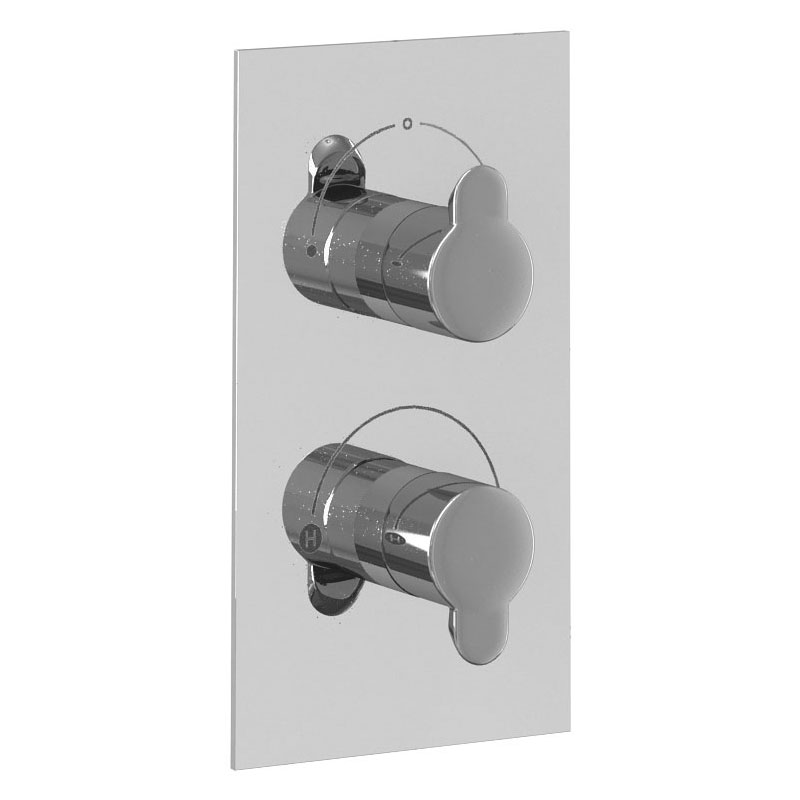 Britton Bathrooms - Thermostatic Twin Concealed Shower Valve with 2 Way Diverter Large Image