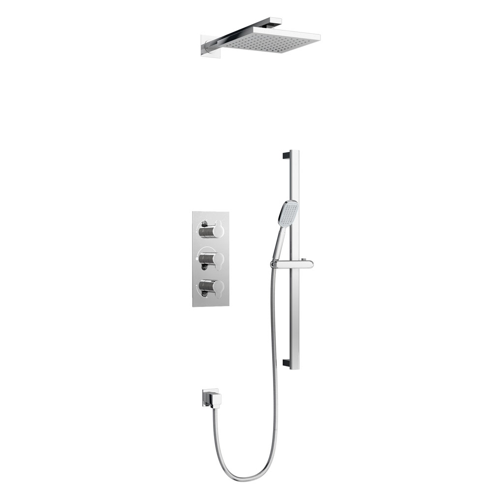 Britton Bathrooms - Concealed Triple Thermostatic Valve with Square Fixed Head and Slider Kit Large