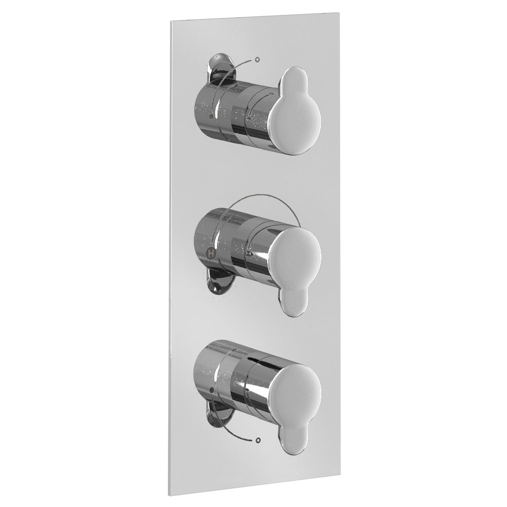 Britton Bathrooms - Thermostatic Triple Concealed Shower Valve with 3 Way Control Large Image