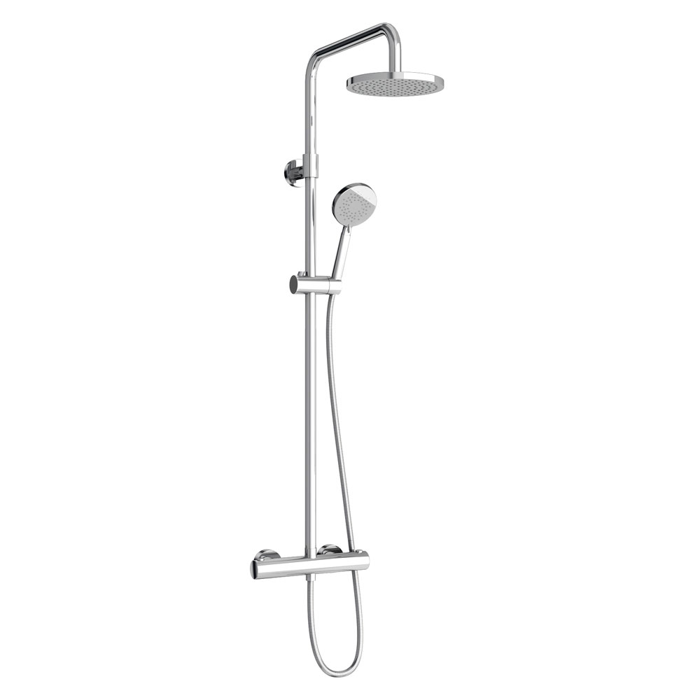 Britton Bathrooms - Round Exposed Thermostatic Shower Valve with Handset & Hose Large Image