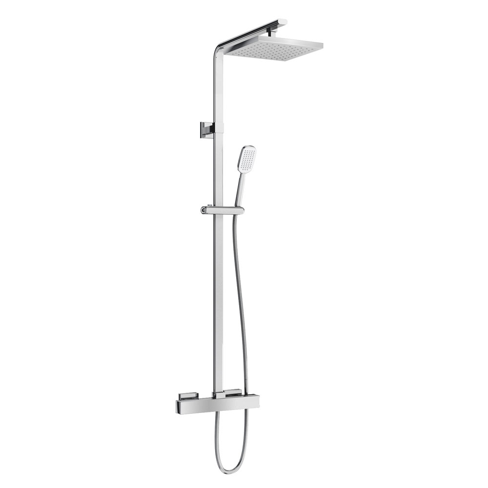 Britton Bathrooms - Square Exposed Thermostatic Shower Valve with Handset & Hose Large Image