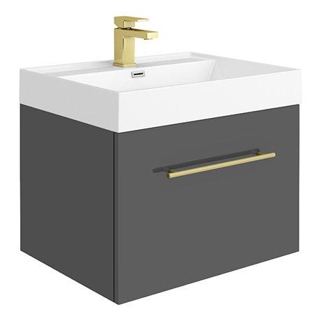 Valencia 600 Gloss Grey Minimalist Wall Hung Vanity Unit with Brass Handle