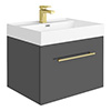Valencia 600 Gloss Grey Minimalist Wall Hung Vanity Unit with Brass Handle profile small image view 1