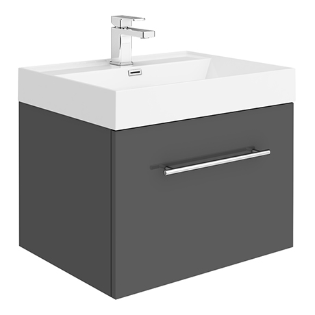 Valencia 600 Gloss Grey Minimalist Wall Hung Vanity Unit with Chrome Handle