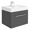 Valencia 600 Gloss Grey Minimalist Wall Hung Vanity Unit with Chrome Handle profile small image view 1