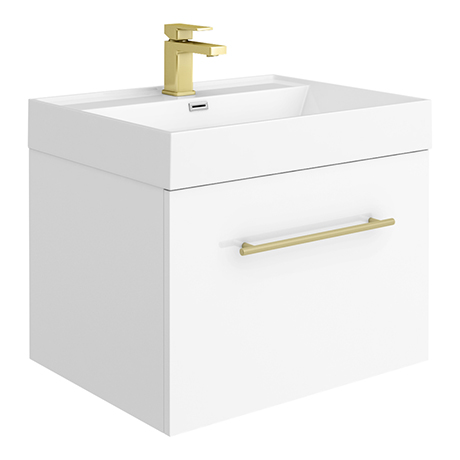 Valencia 600 Gloss White Minimalist Wall Hung Vanity Unit with Brass Handle
