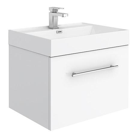 Valencia 600 Gloss White Minimalist Wall Hung Vanity Unit with Chrome Handle