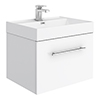 Valencia 600 Gloss White Minimalist Wall Hung Vanity Unit with Chrome Handle profile small image view 1