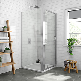 Newark 760 x 760mm Pivot Door Shower Enclosure + Pearlstone Tray