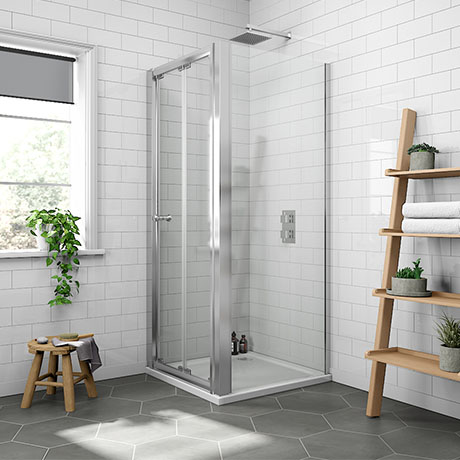 Newark 800 x 800mm Bi-Folding Shower Enclosure + Pearlstone Tray