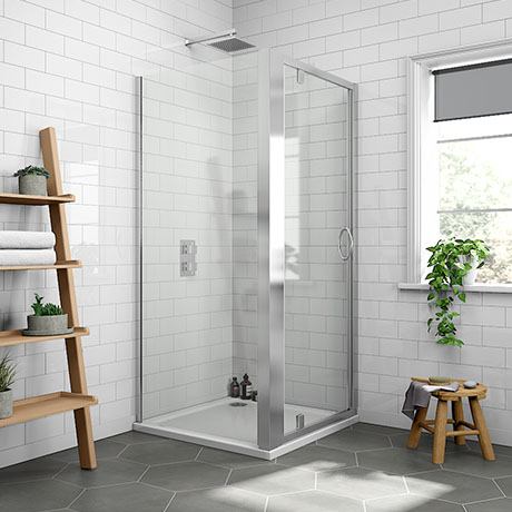 Newark 800 x 800mm Pivot Door Shower Enclosure + Pearlstone Tray