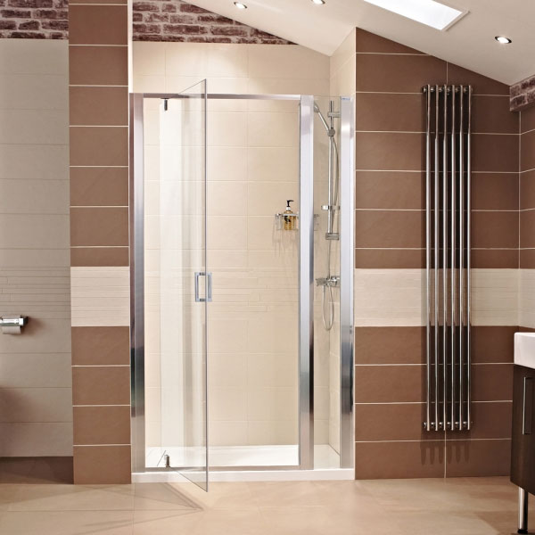 Roman - Lumin8 Pivot Shower Door - Various Size Options In Bathroom Large Image