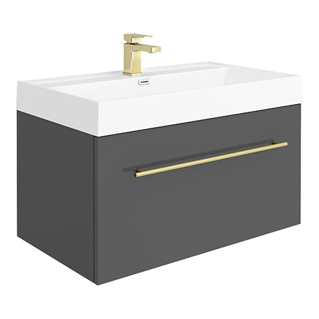 Valencia 800 Gloss Grey Minimalist Wall Hung Vanity Unit with Brass Handle