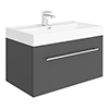 Valencia 800 Gloss Grey Minimalist Wall Hung Vanity Unit with Chrome Handle profile small image view 1