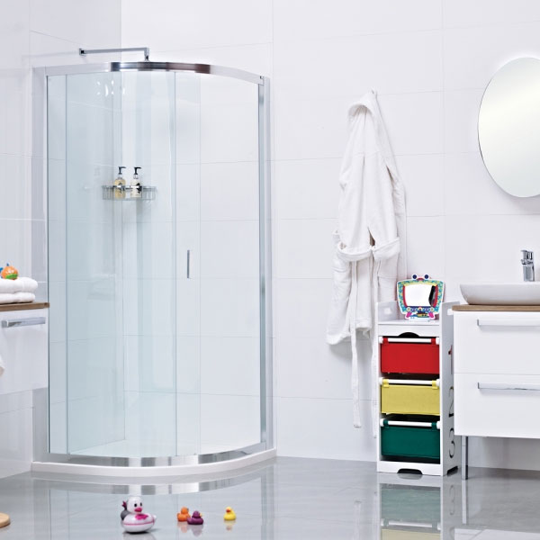 Roman - Lumin8 One Door Quadrant Shower Enclosure - 2 Size Options Large Image