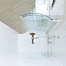 Roman Lumin8 Wave Walk-In Shower Tray - Matt White Medium Image