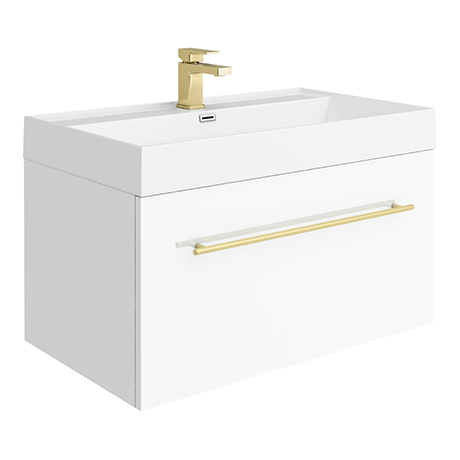Valencia 800 Gloss White Minimalist Wall Hung Vanity Unit with Brass Handle