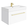 Valencia 800 Gloss White Minimalist Wall Hung Vanity Unit with Brass Handle profile small image view 1