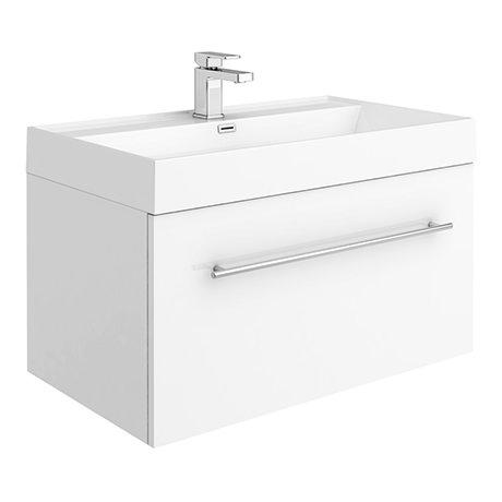 Valencia 800 Gloss White Minimalist Wall Hung Vanity Unit with Chrome Handle