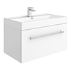 Valencia 800 Gloss White Minimalist Wall Hung Vanity Unit with Chrome Handle profile small image view 1