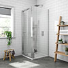 Newark 900 x 900mm Bi-Folding Shower Enclosure + Pearlstone Tray profile small image view 1