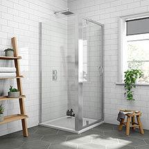 Newark 900 x 900mm Pivot Door Shower Enclosure + Pearlstone Tray Medium Image