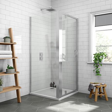 Newark 900 x 900mm Pivot Door Shower Enclosure + Pearlstone Tray