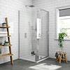 Newark 900 x 900mm Pivot Door Shower Enclosure + Pearlstone Tray profile small image view 1