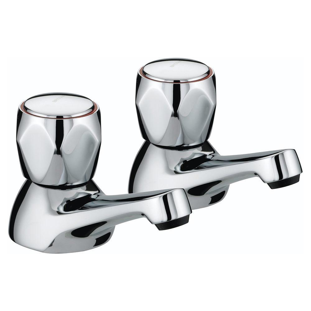 Bristan - Club Bath Taps - Chrome with Metal Heads - VAC-3/4-C-MT