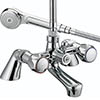 Bristan - Club Pillar Bath Shower Mixer - Chrome with Metal Heads - VAC-PBSM-C-MT profile small image view 1