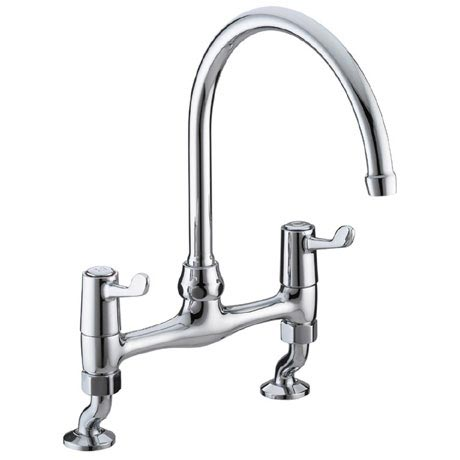 "Bristan - Value Lever Bridge Deck Kitchen Sink Mixer with 6"" Levers - VAL-BRDSM-C-6-CD"