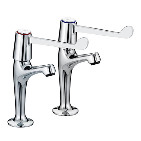 "Bristan - Value Lever High Neck Pillar Taps with 6"" Levers - VAL-HNK-C-6-CD"