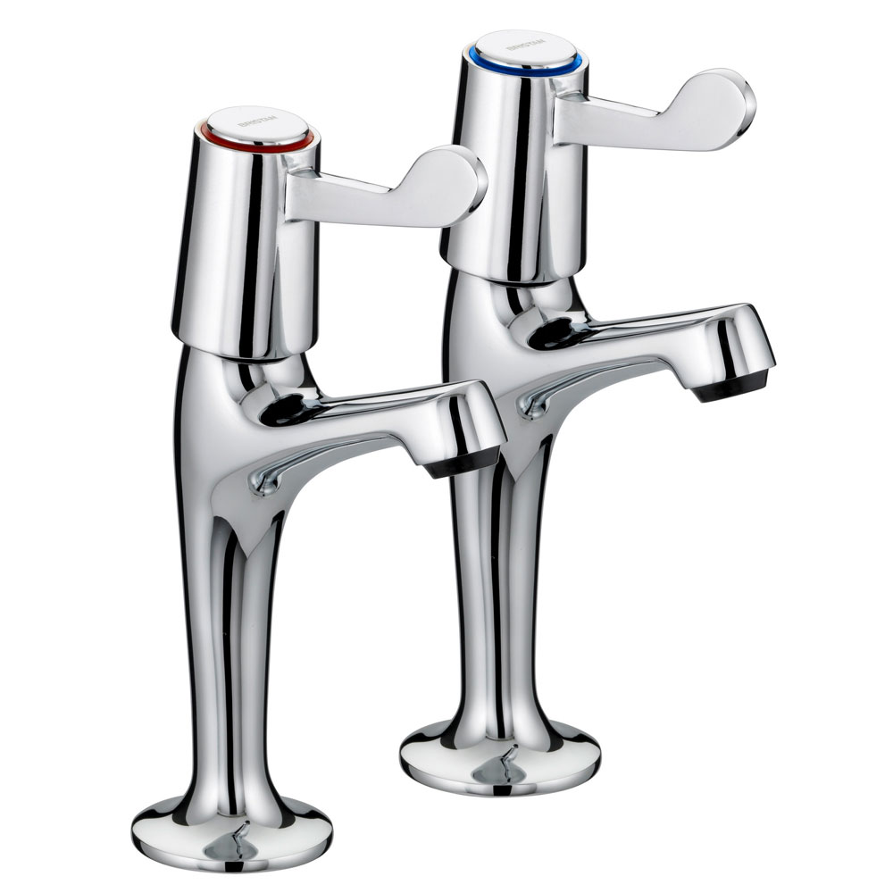 "Bristan - Value Lever High Neck Pillar Taps with 3"" Levers - VAL-HNK-C-CD Large Image"