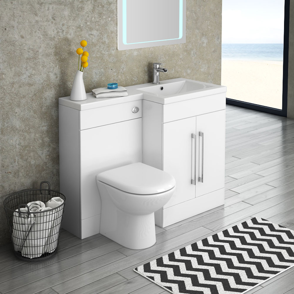 Valencia 1100mm Combination Bathroom Suite Unit with Basin + Round Toilet
