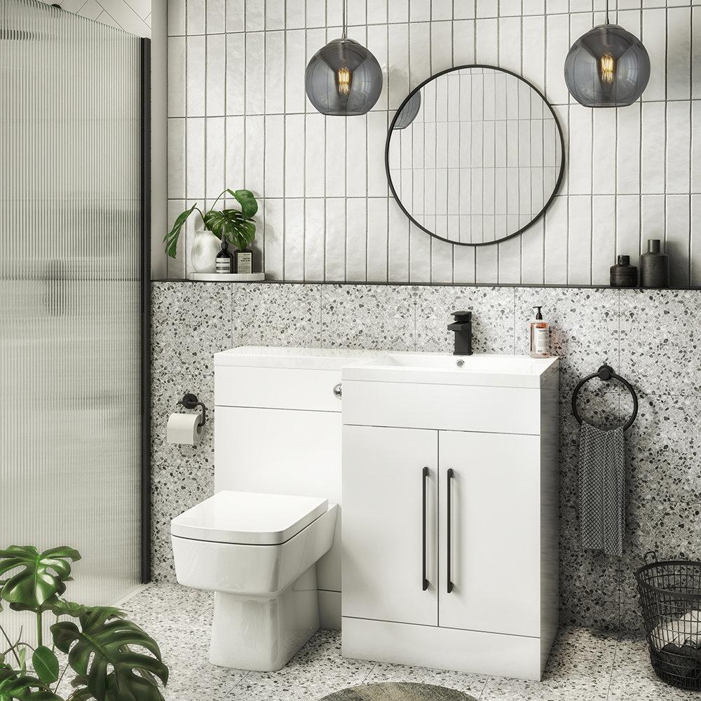 Valencia Bathroom Combination Suite Unit - 1100mm Basin w. Black Handles and Square Toilet