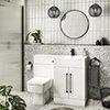 Valencia Bathroom Combination Suite Unit - 1100mm Basin w. Black Handles and Square Toilet profile small image view 1