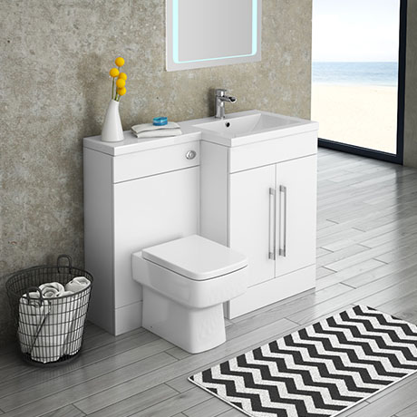 Valencia 1100mm Bathroom Combination Suite Unit with Basin + Square Toilet