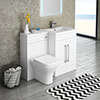 Valencia 1100mm Combination Bathroom Suite Unit with Basin + Modern Toilet profile small image view 1