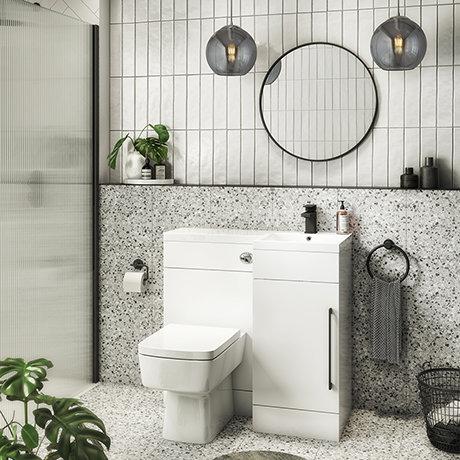 Valencia Bathroom Combination Suite Unit - 900mm Basin w. Black Handle and Square Toilet