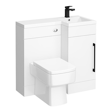 Valencia Bathroom Combination Suite Unit - 900mm Basin with Black Handle and Square Toilet