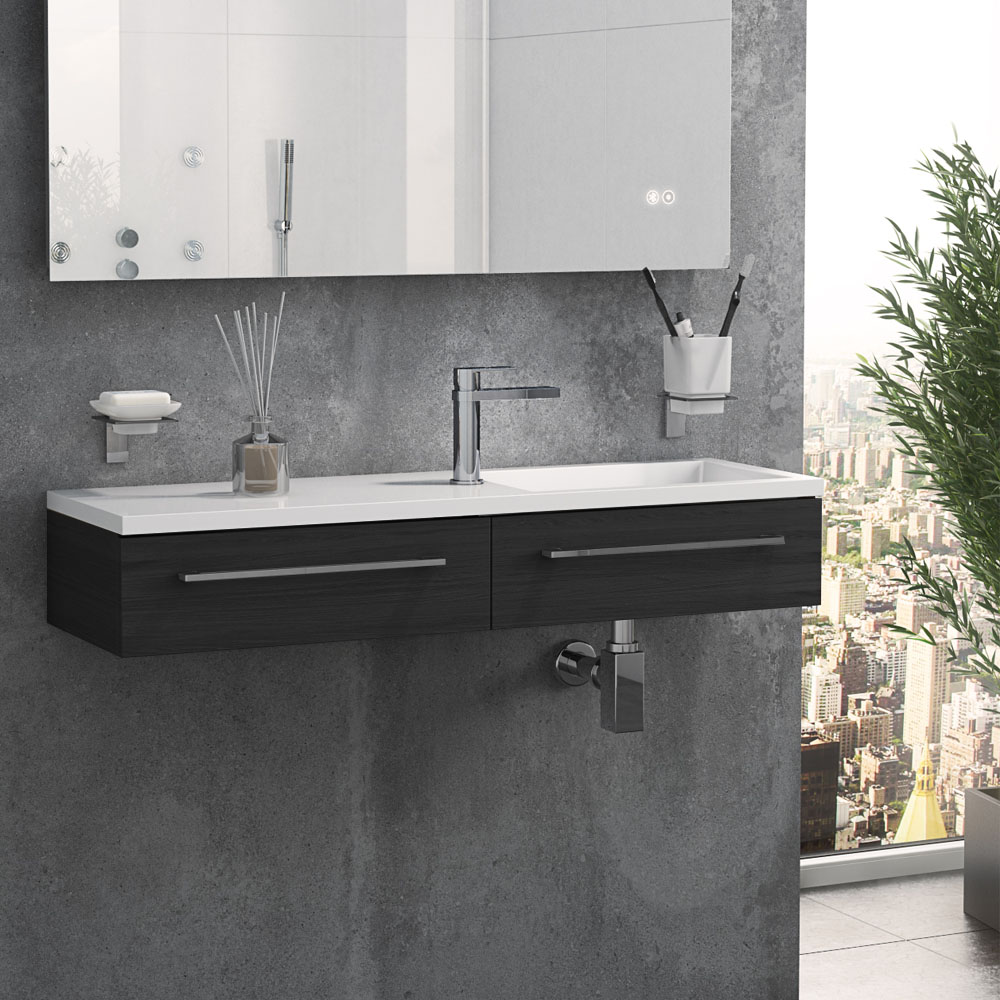 Valencia 995mm Black Ash Wall Hung Basin Unit
