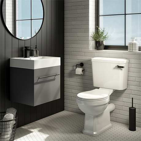 Valencia Cloakroom Suite (Gloss Grey Vanity with Matt Black Handle + Toilet)