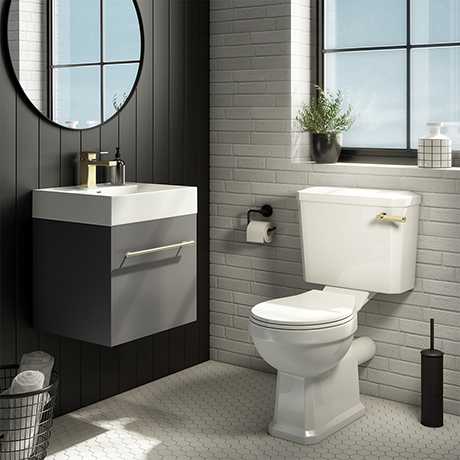 Valencia Cloakroom Suite (Gloss Grey Vanity with Brushed Brass Handle + Toilet)