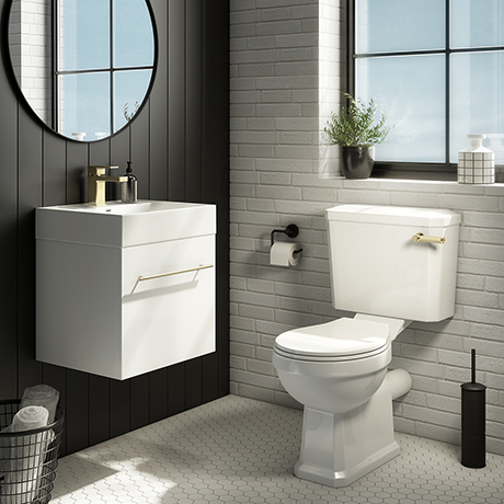 Valencia Cloakroom Suite (Gloss White Vanity with Brushed Brass Handle + Toilet)